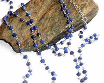 Lapis Rosary Three Way Necklace Sterling Silver earthegy