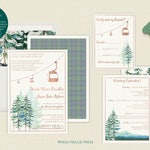 Ski Wedding Invitations - Mountain Wedding - Gondola - Chairlift - Rose Gold Foil - Elegant Rustic