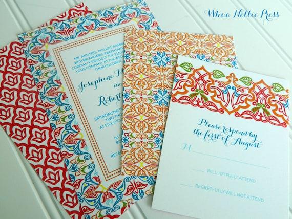 Spanish Wedding Invitations Mexican Wedding Spanish Tiles Etsy