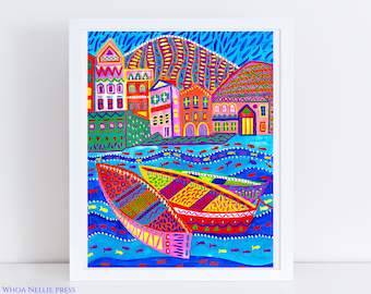 Mediterranean Sea Folk Art Print -- Turqouise Waters Home Decor - Colorful Boats - Vibrant Wall Art