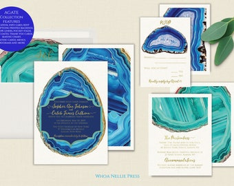 Agate Wedding Invitations, Geology Paper Goods, Colorful Geode Stationery, Precious Stone Gems -Turquoise Blue - Cobalt Rocks - Gold Foil