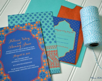 Morocco Wedding Invitations - Moroccan Party - Boho Wedding - Destination Wedding - Asian Invitation - Turquoise Blue - Colorful Tiles