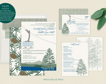 Special Listing-Squaw Valley Ski Mountain Wedding Invitations - Lake Tahoe - Gondola/Tram Wedding Invitations - Customizable to Your Venue