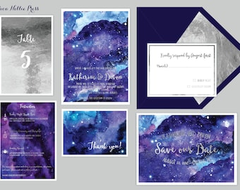 Star/Night Sky Wedding Invitations - Starry Night/Whimsical/Watercolor-Galaxy Invitations - Celestial Wedding - Watercolor Invites/Astronomy