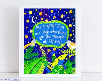 Firefly Folk Art Print -  Kids Room Decor- Night Sky Poster - The brightest stars are those who shine for the benefit of others quote/Mother