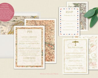 Travel Wedding Invitations - Featuring Gold Foil and Vintage Maps - Destination Wedding Stationery - Romantic Classic Elegant