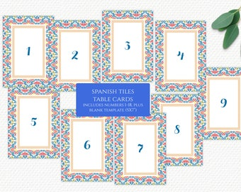 Spanish Tiles Table Numbers - Instant Download/Printable/DIY - Mexican/Mediterranean, Numbers 1-18