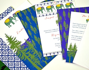 Indian Nature Invitations - India-Mountain Wedding - Woodland Invitations/India/Indian Invitations, Mountain Wedding, Nature Wedding, Rustic