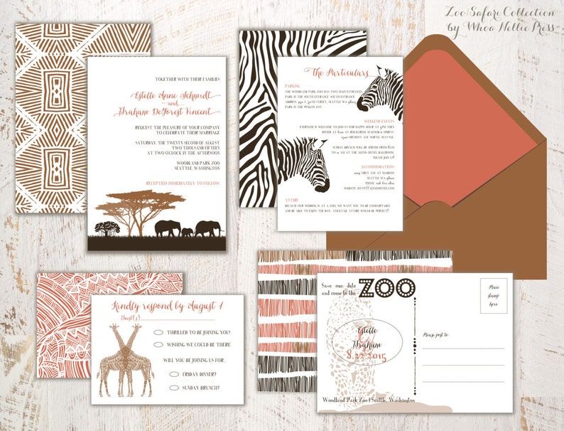 Zoo Wedding Invitations Safari Invitations Africa Party Etsy
