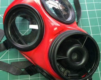 Custom British S10 Gas Mask in bright red.