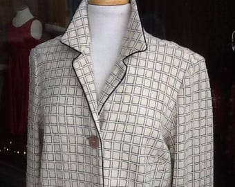 Vintage Women's Authentic Navy Blue and Off White Pure Virgin Wool Midcalf Coat Made By Dalton