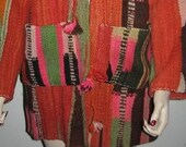 Berber MOROCCAN Blanket Rug COAT Hand Loomed Vintage All Wool Fantastic Winter Jacket Heavy Warm