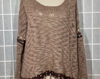 b4ce8f8f3e87e FREE~People~~SWEATER~Oversized~Wool~MOHAIR~Snady~Brown~Boho~edium to-3x