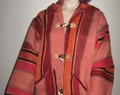 Rare Heavy 100 WOOL Rug Carpet Moroccan Tribal Ethnic HIPPIE Coat Or Jacket Must See A Beauty