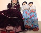 Set Of 3 KACHINA Dolls Vintage NATIVE American AUTHENTIC Velvet Dress Hand Made
