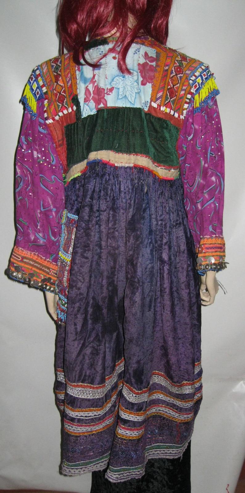 Rare Size~VINTAGE~Wedding Tribal KUCHI~Purple~Velvet ETHNIC~Dress ~ To 1X~44 Bust