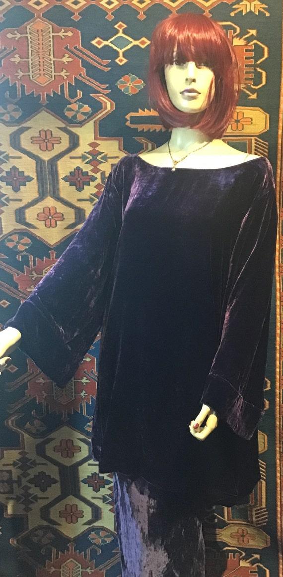 PURPLE~Silk VELVET~TUNIC~Blouse~Flared Sleeves~Plu