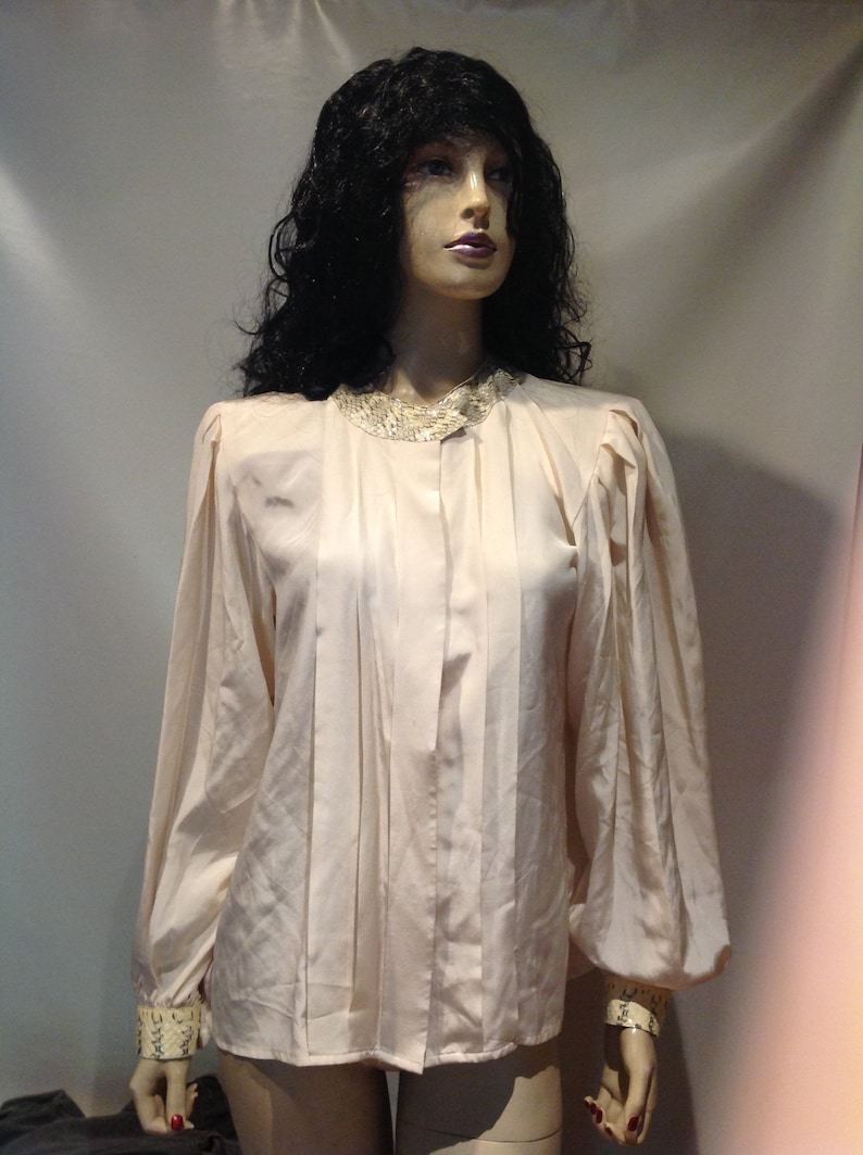 1980's~ORIGINAL~Pure SILK~Buttoned Down~Blouse NUDE Color~Snake Skin  Trim~Mint