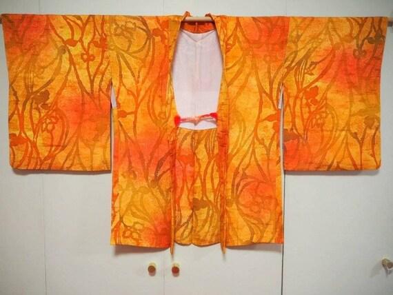 Vintage~Japanese~PURE~Silk~kimono~HAORI~Hitokoshi~
