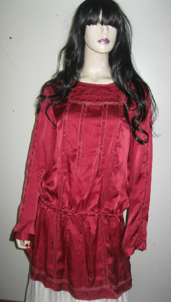 Vintage~Pure SILK Charmeuse~LACE Burgundy~Red TUNI