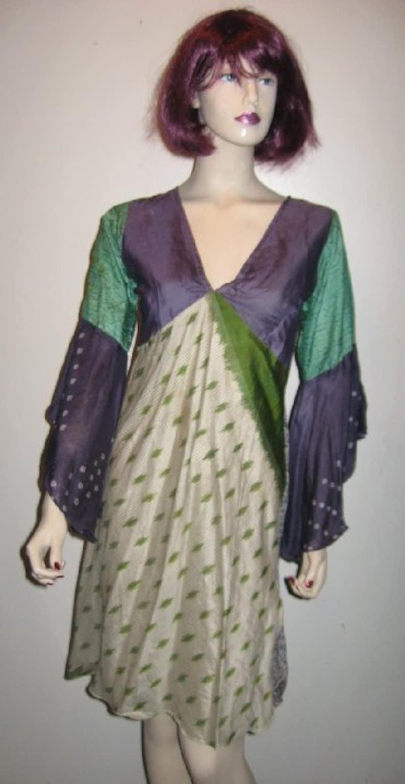 NWOT Empire SILK Patchwork Bat Sleeves BABYDOLL Dress Tunic India Fairy S