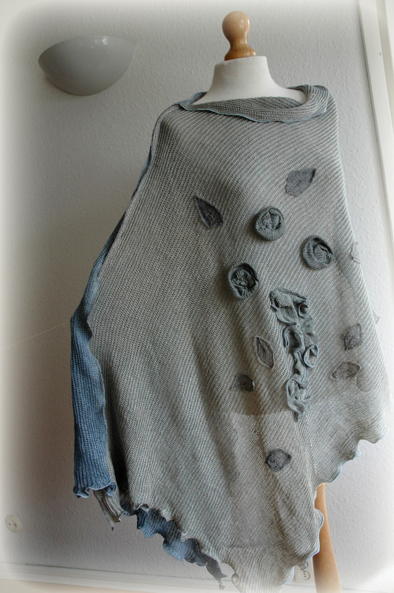 Grey Poncho  Blue Jeans Hand-Dyed LINEN Knitted Wrap Wrarm SweaterWomens Poncho Flower Appliques Eco Friendly Natural Clothing Plus Size
