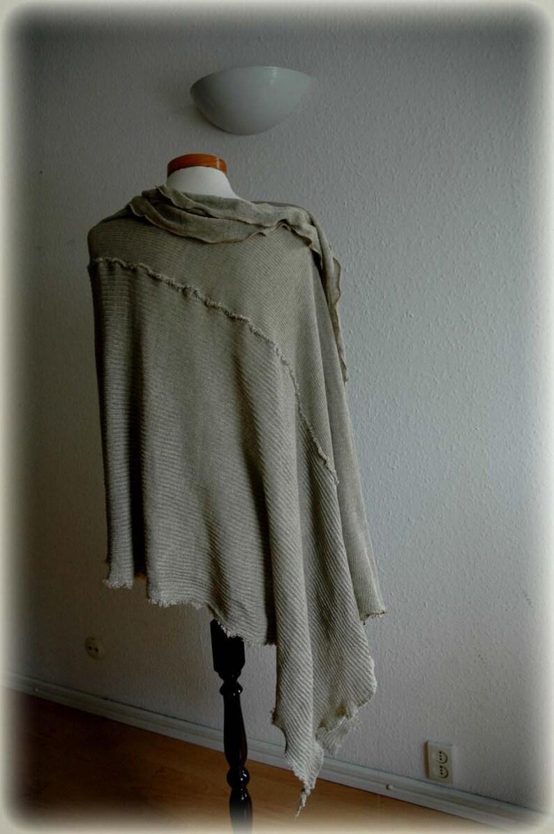 Linen  Clothing Flower Linen Appliques Eco Friendly,Wrap Sweater Linen Unique Natural Bohemian Clothing Grey  LINEN Poncho