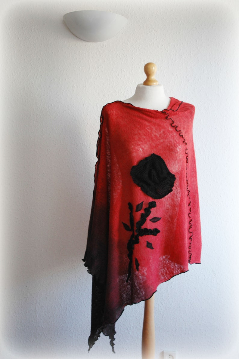 Pullover Sweater,Women/'s Plus Size Clothing Women/'s Poncho LINEN,Hand Dyed Red Coral Black Poncho,Women/'s Cape,Bohemian Sweater