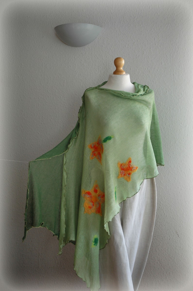 Pullover Sweater Green LINEN Poncho Women/'s Cape,Bohemian Poncho Knitted Poncho Women Poncho Women/'s Green  Poncho,Wrap Sweater
