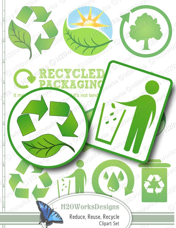 Green Reduce Reuse Recycle Clip Art Set Transparent Etsy