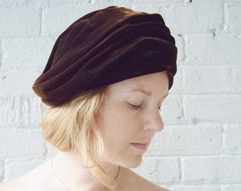 Vintage 1960s Silk Velvet Turban Hat | Brown Velvet Hat | Reggi of Wilshire