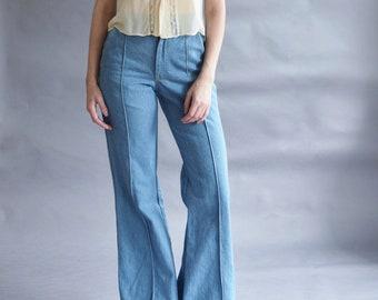"1970s Denim Bell Bottoms   Light Wash, Blue   Flared Leg Jeans   Cotton   Xsmall / 24"" w"