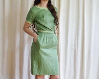 b314b5a6 1960s Sage Green Linen Sheath Dress | Small