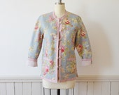 Vintage Reversible Quilted Jacket 1980s Lightweight Jacket Floral Print and Pink Stripes Small-Medium