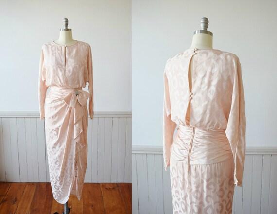 Pink Silk Leopard Print Gown   1980s Pink Silk Dre