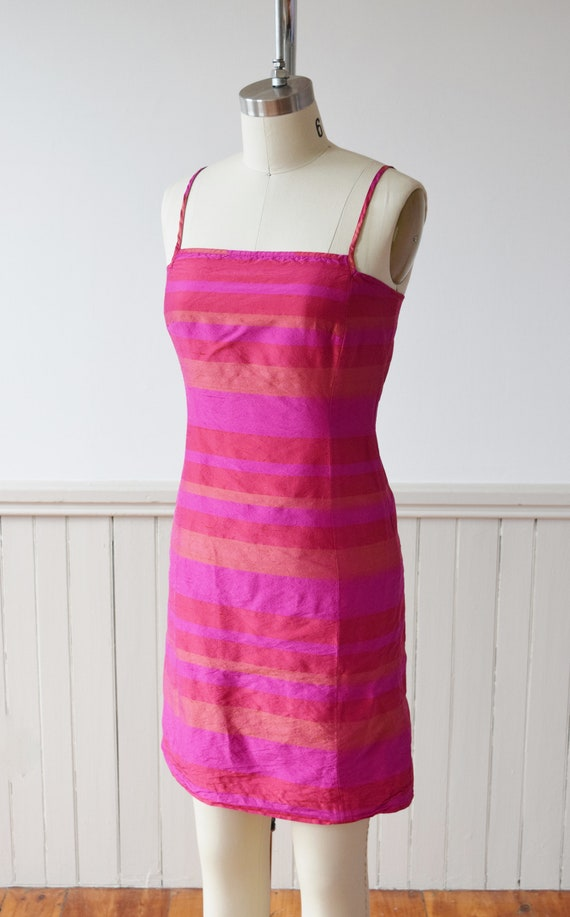 1990s Madras Silk Sheath Mini Dress | S - image 3