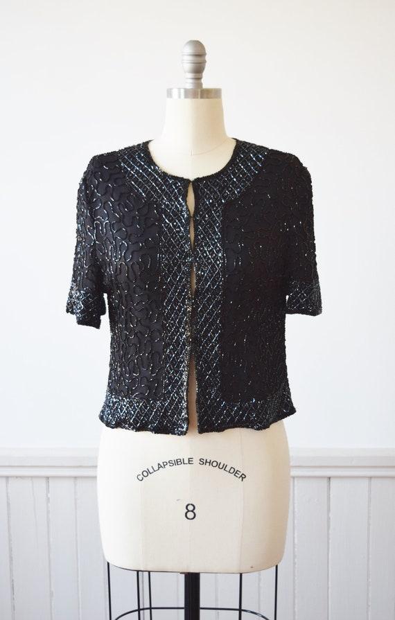 1990s Beaded Silk Top   Vintage 90s Black Silk Blo