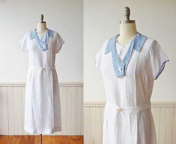 Early 1930s Linen Sport Dress | Late 1920s to Earl