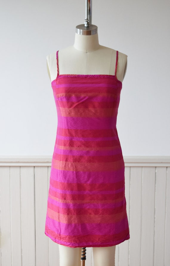 1990s Madras Silk Sheath Mini Dress | S - image 2