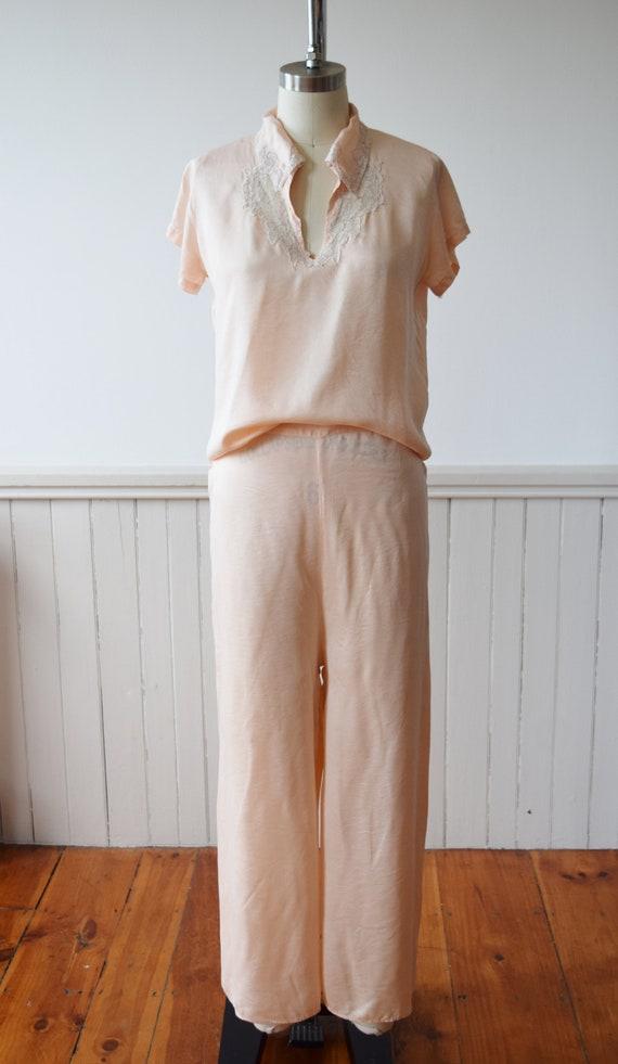 1940s Silk Pajama Set | Top + Wide Leg Pants | Vi… - image 2