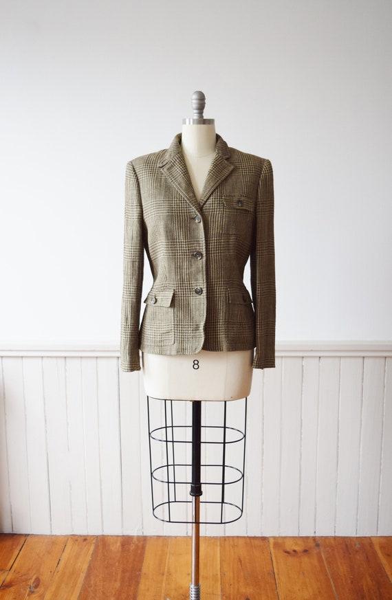 Ralph Lauren Essential Glen Plaid Linen Blazer | 1