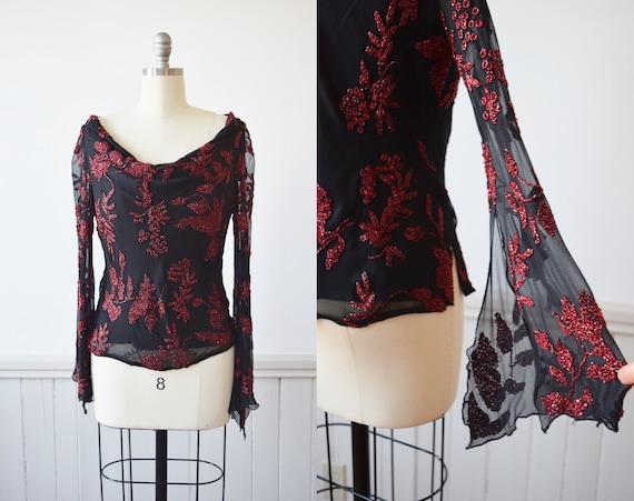 1990s Beaded Silk Bell Sleeve Top | Vintage 90s Bl