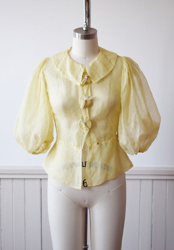 1930s Lemon Yellow Puff Sleeve Blouse with Large B
