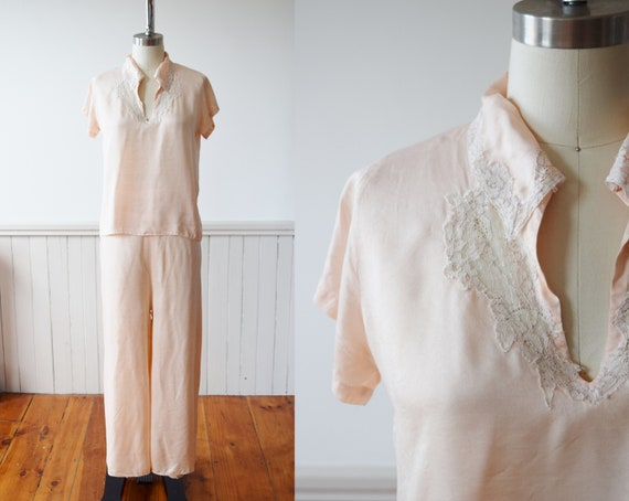 1940s Silk Pajama Set | Top + Wide Leg Pants | Vin