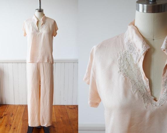 1940s Silk Pajama Set | Top + Wide Leg Pants | Vi… - image 1