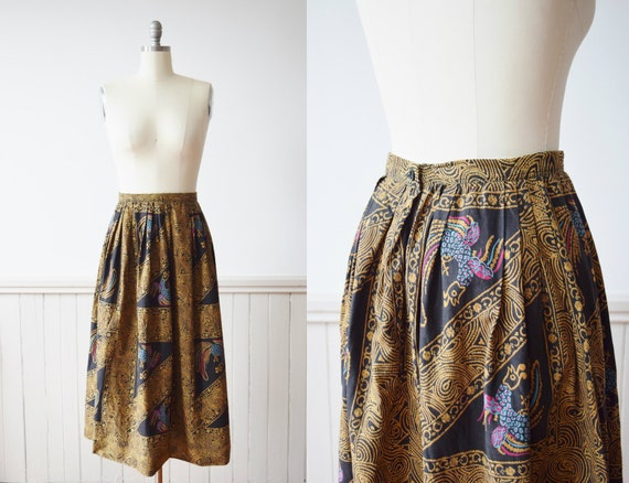 1950s/60s Balinesian Rooster Print Skirt | Vintage
