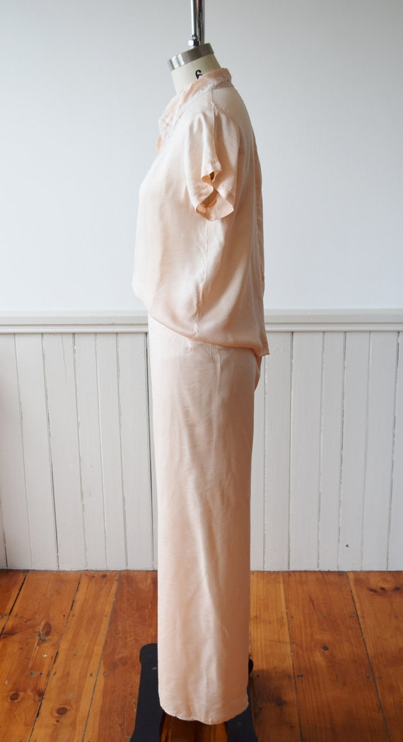 1940s Silk Pajama Set | Top + Wide Leg Pants | Vi… - image 5