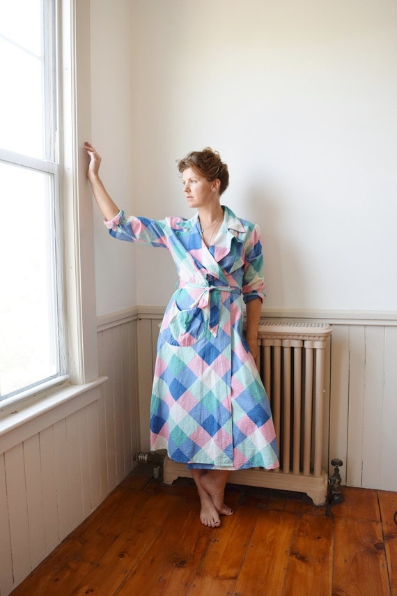1940s Pastel Check Wrap Dress(ing Gown) | Vintage