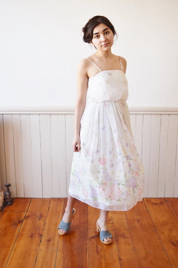 1970s Spring Posy Chiffon Dress | Vintage 70s Flor