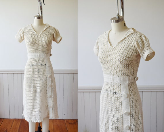 1930s Crochet Dress Day Dress | 1930s Vintage Hand